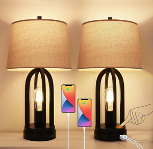 Set of 2 Table Lamps 3-Way Dimmable Touch Lamp Bedside Lamp with USB Nightstand