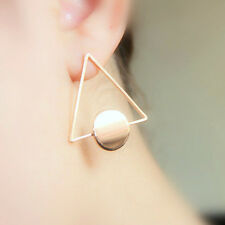 Long Stud Earrings Gold Triangle Statement Party Dangle Geometric Metal Circle