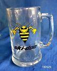 Vintage Ski Doo Snowmobiles Bee Yellow Jacket Glass Beer Coffee Mug Stein 12 oz