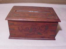 RARE Antique Arts & Crafts Art Nouveau Wood Brass Box 1900's Cigarette Dispenser