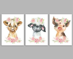 Farmyard Animal Nursery Wall Art Set - Baby Girls Room Pictures - Wall Art Decor