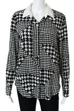 DKNY Black White Silk Houndstooth Collared Button Close Blouse Size Small New