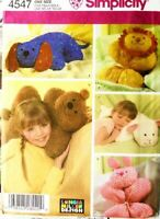 Simplicity Sewing Pattern 4547 Bear Rabbit Lion Lamb Animal Pillows