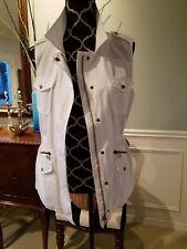 Velvet by Graham & Spencer Anthropologie White Cotton Utility Vest ; Sz M; EUC