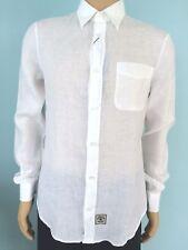 NWT Armani Jeans AJ Shirt Mens 100% Linen Classic Button Down White Size S EU M