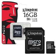 100% GENUINE 16GB KINGSTON MICRO SDHC MEMORY CARD WITH SD ADAPTER TF HC MICROSD