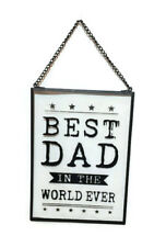 Gisela Graham Best Dad in the World Glass Hanging Sign Plaque Decoration Gift