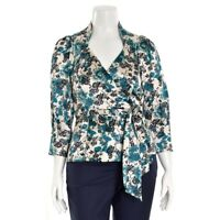 Diane Von Furstenberg Floral Print Irlan Silk Charmeuse Wrap Top Blouse size 12