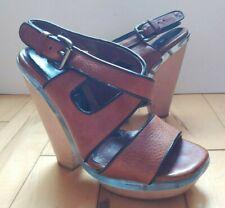 "Auth Marni Brown Leather Wooden 5""Heel Platform Sandal Heels Sz6 Lucite Midsole"