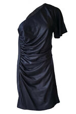 * Catherine Malandrino * Negro De Un Hombro Vestido Mini (UK 10)