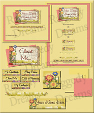 Scrapbook Spring Flowers Ribbons COMPLETE EBAY STORE DESIGN Raggedy Dreams