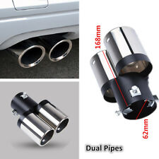 New Car Stainless Steel Exhaust Pipes Chrome Muffler Tip Tail Y-Pipe Dual Pipes