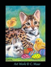 Bengal Kitten Cat Rabbit Bunny Chicks Easter Eggs ACEO Limited Edition Art Print