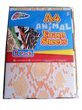 8 X Grafix A4 foam sheets Animal print Kids Children Craft Work Activity sheets