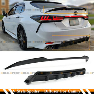 For 18-2020 Camry SE XSE Glossy Black Rear Bumper Diffuser+V Style Trunk Spoiler