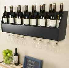 Floating 18 Bottle Wine Rack and Glass Holder Wood Wall-Mounted Storage in Black