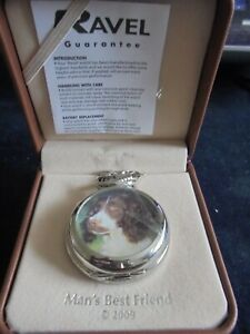 HIGHLY COLLECTABLE RAVEL POCKET WATCH AND CHAIN WITH LEATHER CASE