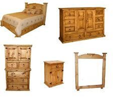 Rustic Western 5pc Mansion Storage Bed Bedroom Set Queen Size Solid Pine