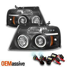 Fits 2004-2008 Ford F-150 Black Halo Projector LED Headlights 05 06 07 + 6K HID