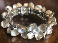Vintage Gold Tone And Rhinestone Flower Petal Stretch Bracelet