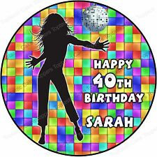 Personalised 80s 90s Disco Diva Party Edible Icing Birthday Cake Topper