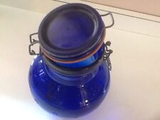1985 Crownford COBALT BLUE BOWS & FLOWERS Canister Jar w/ Bail Lid Made in Italy