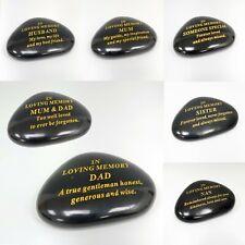 Black & Gold Memorial Stone / Pebbles Grave Marker Memorial Ornament Decoration