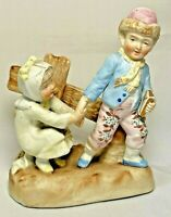 Bisque Porcelain Schoolboy Children Along Fence Figurine Marked 3376 Vintage 5""
