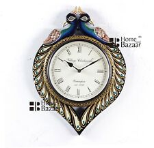 Traditional Rajasthani Hand Painted Wooden Peacock Shape Wall Clock - 467