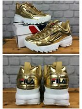 Fila Femme Disruptor II Premium Metallic Gold Chunky Baskets Miroir Laque