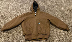 Med. Key Insulated duck heavy duty  jacket zipper waterproof hood hoodie brown