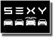 Tesla - SEXY - Black & White - NEW Humorous Electric Car POSTER (hu479)