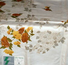 Vtg Linen Tablecloth 52 in Sq Floral Autumn New Garden State Table Toppers MCM