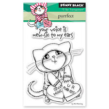New Penny Black PURRFECT Mini Clear Stamp Love Cat Valentines Heart Be Mine XOXO