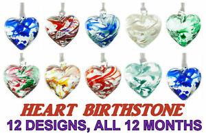 Milford Collection Hanging Glass Friendship Heart Birthmonth Birthday Birthstone