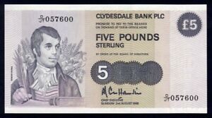 """Scotland: Clydesdale Bank 2-8-1988 £5 1ST PREFIX """"D/JT"""" P212d AU - Cat UNC $105+"""