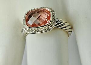 David Yurman Sterling Silver 9x12 Pink Morganite Noblesse Diamonds Ring, size 7