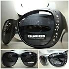 New BLING WRAP AROUND DRIVING Dark Black POLARIZED SUN GLASSES Over RX Glass Fit