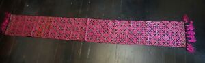 TXTY  HAND EMBROIDERED SILKY MATERIAL, SASH, 71 X 9 INCH, PINK, BLACK & GREEN