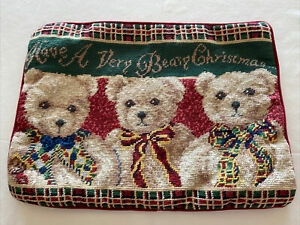 "Vintage Teddy Bear Holiday Christmas Needlepoint / Velvet  Pillow Cover 13"" x 9"""