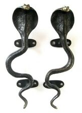 VINTAGE ANTIQUE STYLE SNAKE COBRA SOLID BRASS PAIR OF DOOR HANDLES PULLS