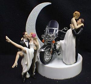 Wedding Cake Topper w/ Harley Davidson Motorcycle Black ROAD KING Sexy OR Kiss
