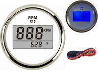 1 Blue Backlight Tachometer Gauges 52mm 0-9900RPM Revolution Meter for Auto Boat