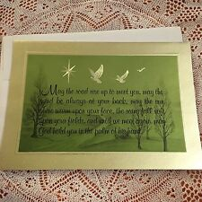 Vintage Greeting Card Christmas Dove Birds Green Gold
