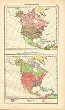 1908 MAP ~ NORTH AMERICA ~ POLITICAL OVERVIEW ETHNOGRAPHICAL GERMAN CHINESE etc