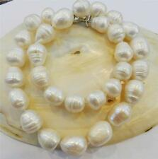 "Natural Pearl Necklace 18"" Aaa Big Rice Shape 12-13Mm White Real"