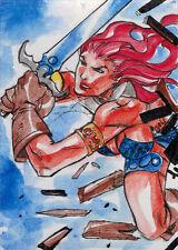 Breygent Red Sonja 2012 Sketch Card by Jez Rojales