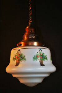 Rare Genuine 1930s art deco Opaline Milk Glass Schoolhouse Pendant Light lantern