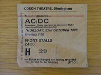 AC/DC CONCERT TICKET STUB 23 OCTOBER 1980 ODEON BIRMINGHAM BACK IN BLACK TOUR