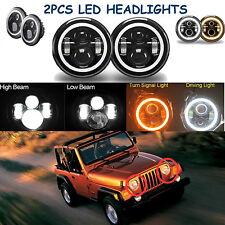 "2x 7""Inch LED Headlight Halo Amber Turn Signal For Jeep Wrangler JK CJ TJ Hummer"